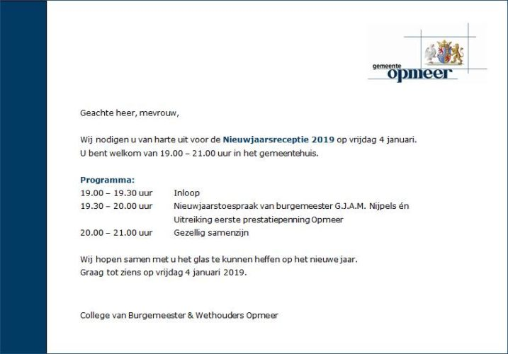 Uitnodiging Nieuwjaarsreceptie Gemeente Opmeer